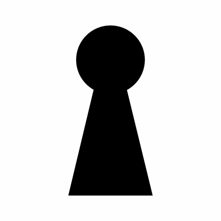 Dark silhouette of a keyhole isolated on white background