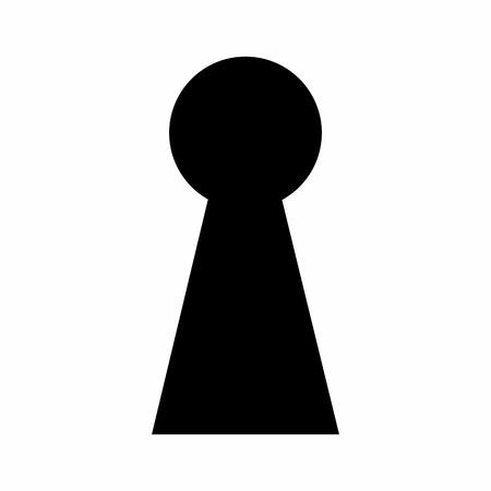 Donker silhouet van een sleutelgat geïsoleerd op een witte achtergrond Vector Illustratie