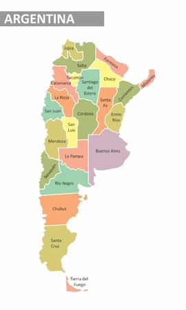 Mappa colorata dell'Argentina con province identificate