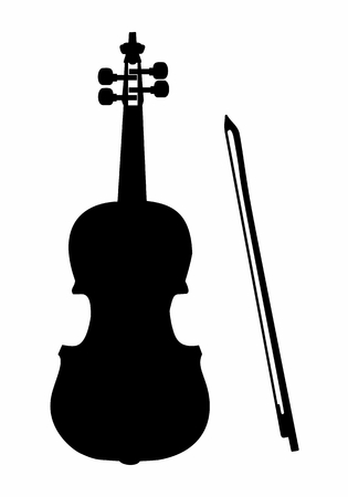 Dark silhouette of a violin with the bow isolated on white background
