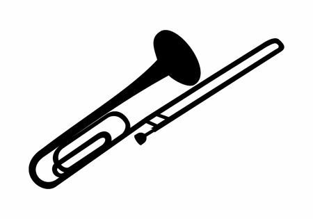Dark silhouette of a trombone isolated on white background