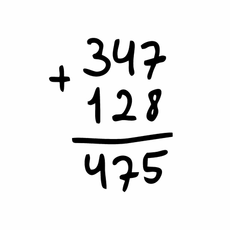 Freehand illustration of an addition calculation. Black outlines on white background.
