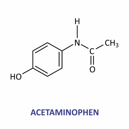 Illustration of the structural formula of acetaminophen
