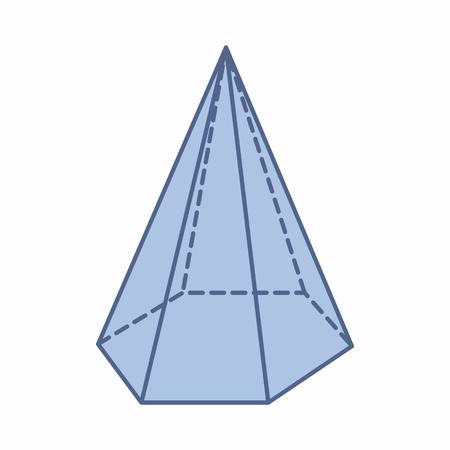L'illustration d'une pyramide hexagonale isolée sur fond blanc