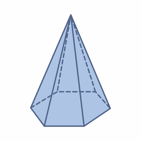 The illustration of an isolated hexagonal pyramid on white background