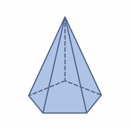 Die Illustration einer isolierten fünfeckigen Pyramide auf weißem Hintergrund Vektorgrafik