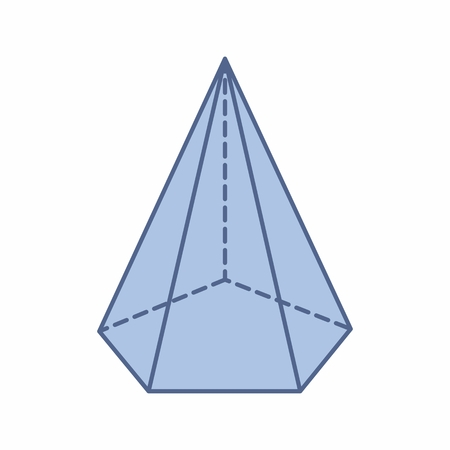 The illustration of an isolated pentagonal pyramid on white background