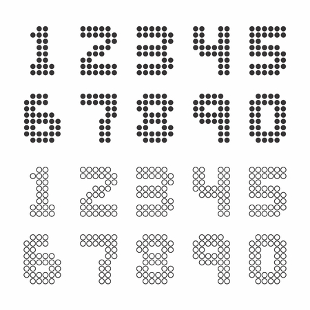 A set of numbers with scoreboard style on white background