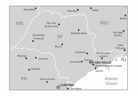 A map of the Sao Paulo state region in the Brazil southeast and some of the main cities. Grayscale map.