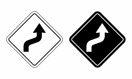Illustration of traffic sign indicating a winding road