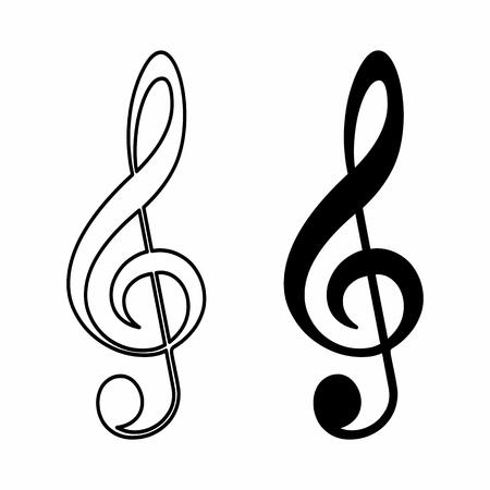 Black and white illustration of treble clefs Vetores