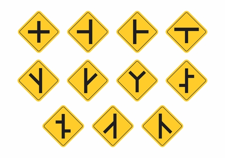 Illustration of a set of traffic signs indicating junctions and bifurcations