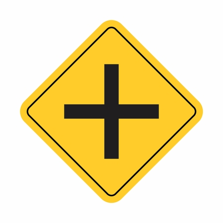 Illustration of a traffic sign indicating a crossroad