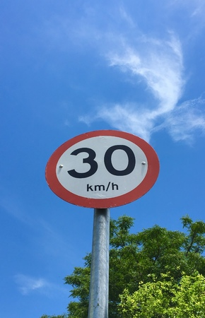 A traffic sign indicating the 30 kilometers per hour speed limit