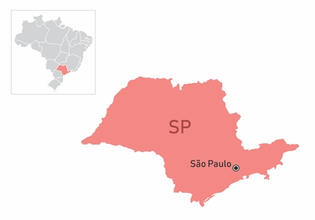 Illustration of the Sao Paulo State and its location in Brazil map Ilustração
