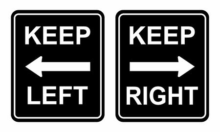 Ilustración de señales de tráfico para mantenerse a la izquierda y a la derecha Ilustración de vector