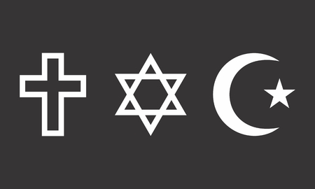 A set of religious symbols on dark background