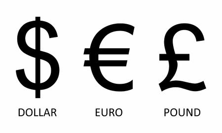 Un ensemble de symboles monétaires sur fond blanc Vecteurs