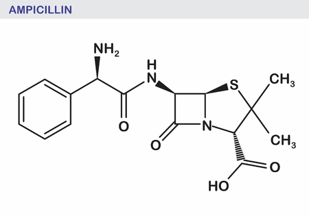 The illustration of the ampicillin structural formula Stock Vector - 125053370