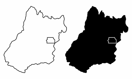 Black and white maps of the Goias State, Brazil