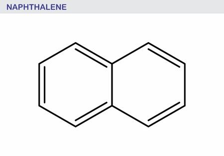 Naphthalene aromatic hydrocarbon molecule. Skeletal formula illustration. Ilustração