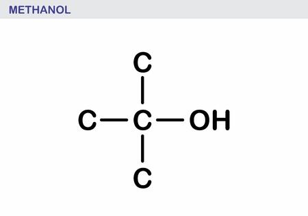 The illustration of a methanol molecule structural Illustration