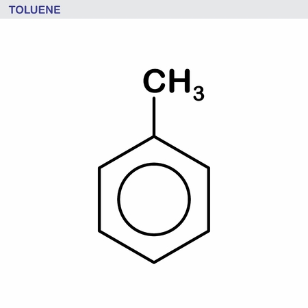 The structural formula illustration of a toluene molecule. Black outlines on white background.  イラスト・ベクター素材