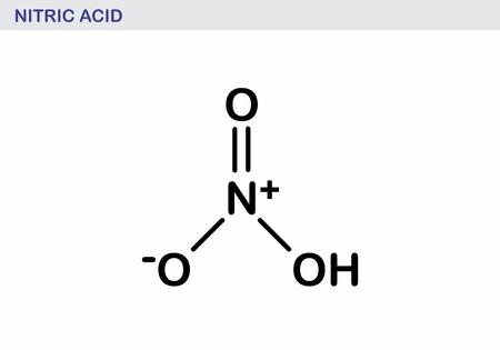 Nitric acid molecule illustration. Black outlines on white background. Standard-Bild - 117636730