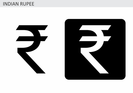 Indian Rupee currency sign. Black and white illustrations.