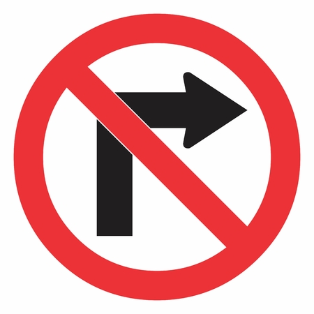 Do not turn right traffic sign on white. Colorful illustration.