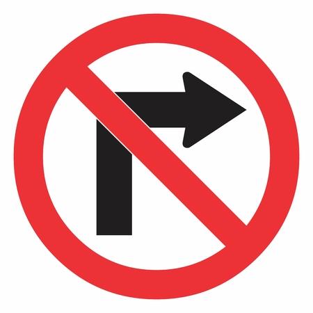 No gire a la derecha en la señal de tráfico en blanco. Ilustración colorida. Ilustración de vector