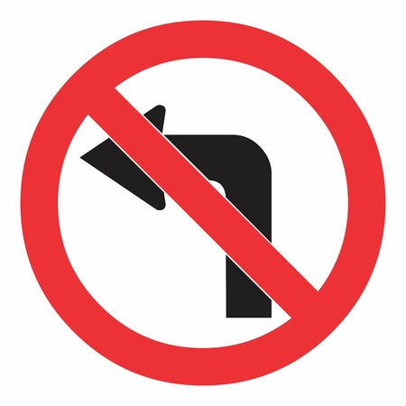 Do not turn left traffic sign on white. Colorful illustration.