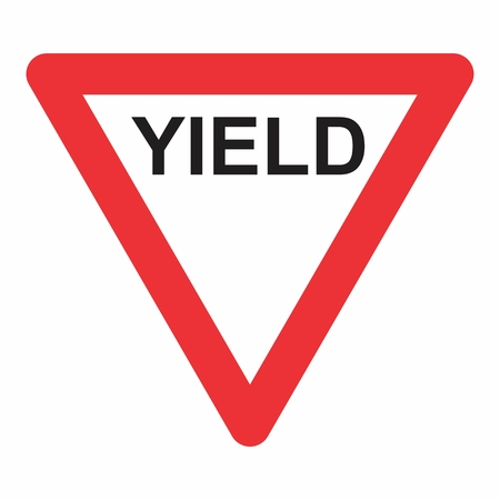 Yield Triangle Road Traffic Sign. Colorful illustration.