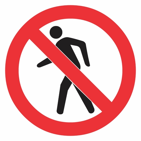 Prohibition No Pedestrian Traffic Sign. Colorful illustration.