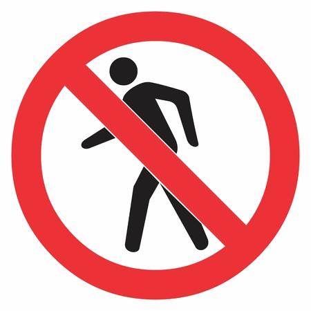 Prohibition No Pedestrian Traffic Sign. Colorful illustration.