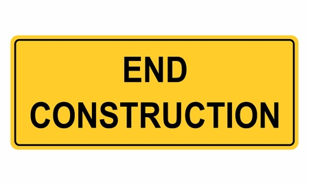 End construction sign isolated on white. Colorful illustration.