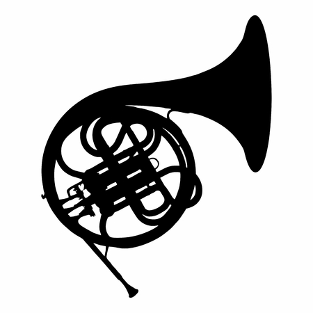 The dark silhouette of a French Horn isolated on white background