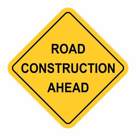 Panneau de signalisation de la construction de route à venir