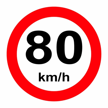 Speed limit traffic sign 80 Banque d'images - 120766776