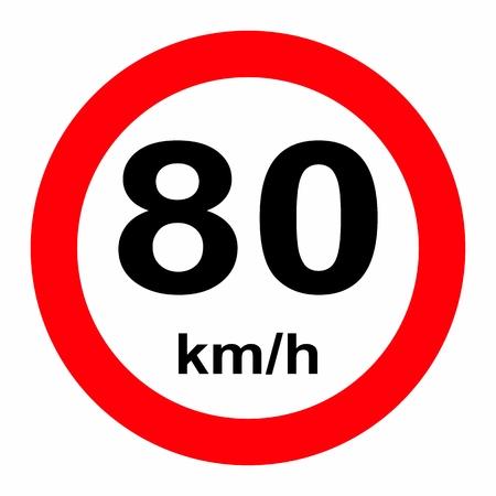 Speed limit traffic sign 80 Vektoros illusztráció