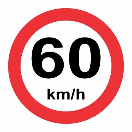Señal de tráfico de límite de velocidad 60 Ilustración de vector