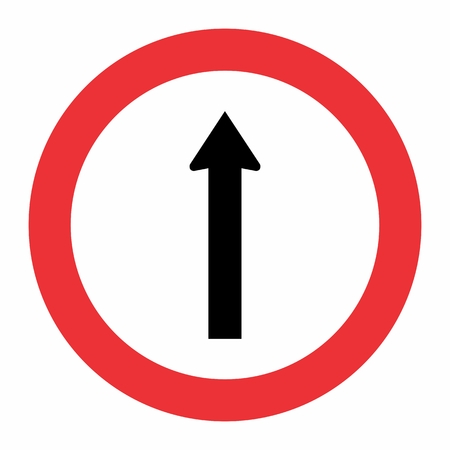 Straight traffic sign symbol on white background