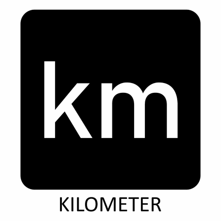 The white Kilometer symbol illustration on dark background