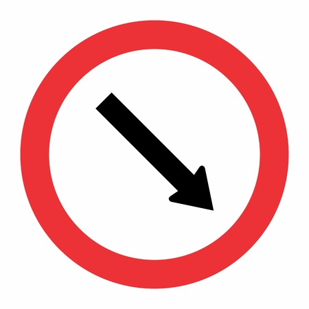 The illustration of Obligatory passage traffic sign on white background