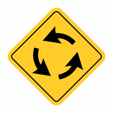 Roundabout crossroad traffic sign Illustration