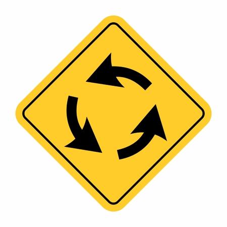 Roundabout crossroad traffic sign Illustration