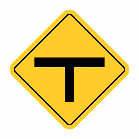 Illustration of T-Junction Traffic Road Sign on white background