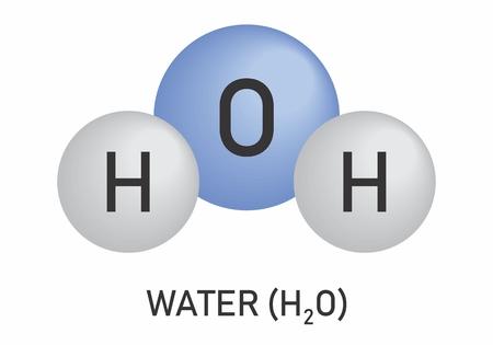 H2O. Illustration du modèle de molécule d'eau sur fond blanc