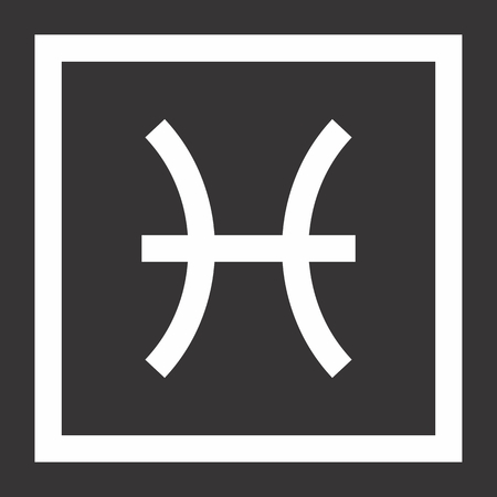 Illustration of Pisces zodiac sign on dark background