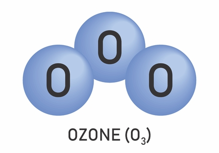 Illustration of the Ozone molecular formula on white background